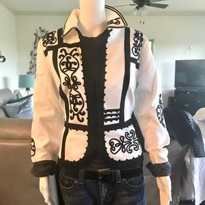 Chico's White and Black zipper jacket